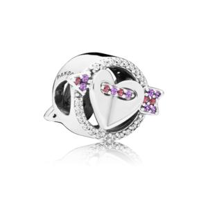 83bd1b594eb0 Charm en plata de ley Flecha   Corazón Brillantes